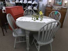 SOLD - Shabby gray round table with leaf and 4 bentwood chairs - painted, distressed and finished with a tinted wax.***** In Booth A8 at Main Street Antique Mall 7260 E Main St (east of Power RD on MAIN STREET) Mesa Az 85207 **** Open 7 days a week 10:00AM-5:30PM **** Call for more information 480 924 1122 **** We Accept cash, debit, VISA,