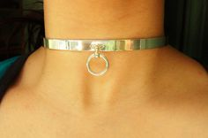 "Very HEAVY Solid 925 Sterling Silver Seamless Neck Cuff w/ Sterling ""O"" RING Locking BDSM Slave Pet Baby / Daddy's Girl  Bondage Day Collar"