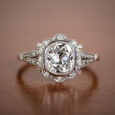 1.50ct Old Mine Diamond Handmade Platinum Mounting - Art Deco Style Engagement Ring