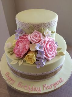 Roses, Peonies, Tulips, Hydrangeas gum paste flowers on a birthday cake - by www.tortebella.co.uk