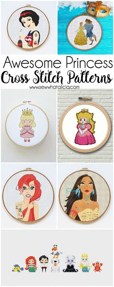 Counted Cross Stitch Patterns - Sew What, Alicia? Princess Counted Cross Stitch Patterns: These cross stitch patterns are perfect for beginners and seasoned cross stitchers alike. Click through for a full list of patterns. Cross Stich Patterns Free, Hand Embroidery Patterns, Cross Stitch Embroidery, Disney Cross Stitches, Knitting Stitch Patterns, Counted Cross Stitches, Cross Stitch Tattoo, Stitching Patterns, Modern Embroidery