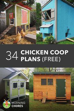 34 Free Chicken Coop Plans & Ideas That You Can Build by Yourself #BackyardChickens, #BuildingACoop, #ChickenCoops #ChickensTurkeys