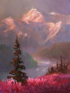 Beautiful Alaskan painting of Denali at Sunset with a meadow of pink fireweed in the foreground. This mountain landscape is stunning as a canvas print. Get yours here: http://fineartamerica.com/featured/denali-summer-mt-mckinley-alaska-karen-whitworth.html