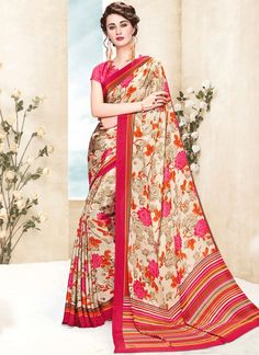 Online shopping store for women clothing like designer sarees. Shop this enthralling faux crepe multi colour printed saree.