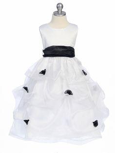 d9c1b170ace Black Flower Girl Dress - Matte Satin Bodice Gathered Organza