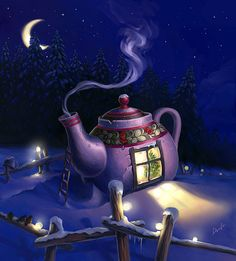 TeaHouse in Lapland. by denfo on DeviantArt Christmas Illustration Design, Illustration Noel, Good Night Sweet Dreams, Good Morning Good Night, Tea Art, Whimsical Art, Conte, Christmas Art, Free Pictures