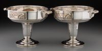A Pair of Apollo Art Deco Silver-Plated Compotes, Paris, France, circa 1925 Marks: (hound-VH), APOLLO, 12</