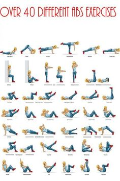 tons of different ab exercises - switch it up by putting them on cards and picking 10 to rotate through