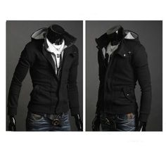Remember these? Amazon sells them, get a large at least with this stuff (1 size up, its from China). Lots of similar styles are found on amazon so look around!  Mens Casual Luxury Buckle Top Designed Jacket Hoodie Slim Sweatshirt Coat (M, Black) Fancy Dress Store,http://www.amazon.com/dp/B00ARSO7O0/ref=cm_sw_r_pi_dp_50Mpsb0CGKTHM1MM