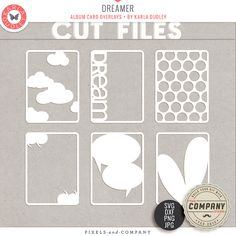 Get your create on hybrid style! These cut files fit perfectly inside your 3x4 album cards or can be resized to suit your needs! Adorn your pages and projects with these universal 'everyday' themed card overlays....