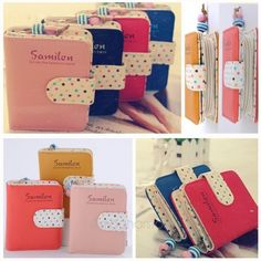 78623f7d1 Fashion Candy Colors Purse Polka Dots Leather Zipper Wallet Multiple Cards  Holder Wallet For Girls Women Wallet