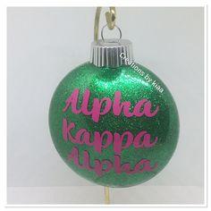Alpha Kappa Alpha ORNAMENTS , Greek Ornaments , AKa GIfts #christmas #sororityitems #sororitygifts #greekitems #skeewee Christmas Bulbs, Christmas Gifts, Disney Couture, Alpha Kappa Alpha, Sorority Gifts, Green Glitter, Steampunk Diy, Nurse Gifts, Gothic Jewelry
