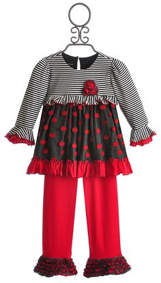Isobella and Chloe Cherry Dots Little Girls Tunic and Pant $49.00