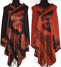 New Black Lady's Double Side Pashmina Silk Woman Butterfly Wrap Shawl/Scarf