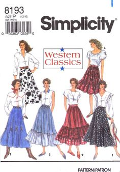 Misses Western Skirts Simplicity 8193 Vintage Sewing Pattern Size 12 - 14 - 16