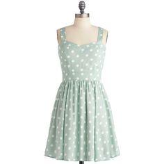 Mink Pink Milkshake Things Up Dress ($90) ❤ liked on Polyvore featuring dresses, vestidos, modcloth, polka dot, minkpink, rouched dress, dot print dress, ruched dress and green polka dot dress