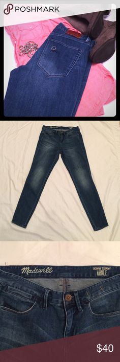 Madewell Skinny Skinny Ankle Jean One of the earlier generations of Skinny Skinny Ankle Jean.. Perfect condition. So soft and comfy, slightly stretchy cotton blend (90% cotton 10% polyester). Medium indigo wash with hand distressing and copper hardware. Madewell Jeans Skinny
