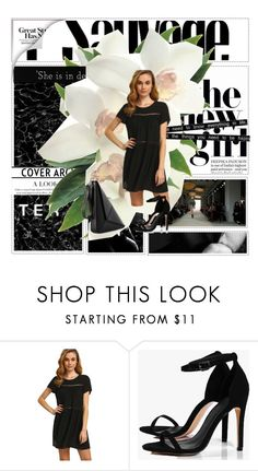 """""""ROMWE: Black T-Dress"""" by margarita1107 ❤ liked on Polyvore featuring Boohoo, Friend of Mine, contest, dress, romwe, fashionset and dlrboutique"""