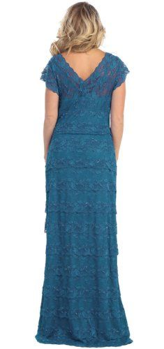 Mother of the Bride Formal Evening Dress #1077 (X-Large, Teal Blue) - Click image twice for more info - See a larger selection of mother of the bride dresses at http://zweddingsupply.com/product-category/mother-of-the-bride/ - woman, woman fashion, wedding style, wedding ideas, wedding .