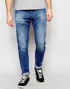 6d46b6b5 Diesel Jeans Tepphar 850J Skinny Fit Stretch Light Distress Mid Blue Wash  at asos.com