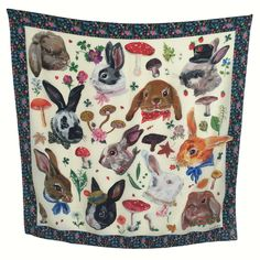 Beautiful silk squares by Parisian artist and illustrator, Nathalie Lete. Each silk scarf is a work of art depicting Nathalie's quirky cat faces. Eiffel, Textiles, Scarf Design, Cat Face, Silk Painting, French Artists, Spring, Bunny, Hand Painted