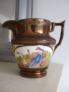 19thC Victorian COPPER LUSTRE Transferware Jug, MOTHER & CHILD Playing BADMINTON Yard Sale, Badminton, Vintage Pottery, Mother And Child, Antique Copper, Tea Set, Luster, Thrifting, Victorian