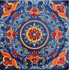 Norwegian Rosemaling Folk Art Ceramic Tile Trivet Hot Pad