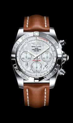 Chronomat 41 Steel Roman Leather - Breitling - Instruments for Professionals/ Old Northeast Jewelers is your Authorized Dealer for Breitling Fine Timepieces. 727-898-4377 or 813-875-3935 Sales@oldnortheastjewelers.com to order via email or visit our website at www.oldnortheastjewelers.com