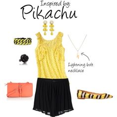 Pikachu (Pokèmon) by ladysnip3r featuring snakeskin flats  This outfit is the last of our Pokèmon themed day and is inspired by the infamous Pikachu. I think my favorite part of this outfit is the contrast between the black and the yellow, it just looks super cute (That, and the lightning bolt necklace). This outfit can be dressed up or dressed down really easily by swapping out the accessories.