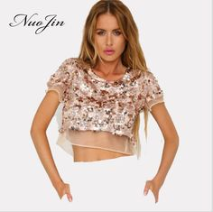 Nuojin 2017 New Fashion Sequins Tops Sexy Blouse Beach Spring Summer Tank Tops Short Sleeve Streetwear Female Clothings