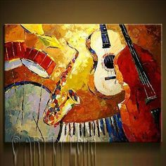 Cheap painting acrylic, Buy Quality paintings women directly from China painting mask Suppliers: tem specifics Materials High quality canvas and environmental oil paint or acrylic paint De Music Painting, Guitar Painting, Music Artwork, Guitar Art, Paintings Famous, Original Paintings, Artwork Paintings, Original Artwork, Original Music