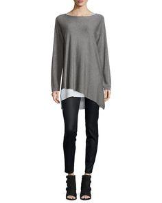 -6SYT Eileen Fisher  Merino-Knit Ballet-Neck Top, Pewter, Plus Size  Coated Stretch Denim Leggings, Black, Plus Size