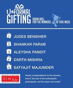 Unformal SURPRISE winners are out... Winners don't forget to DM us your contact details and complete addresses or the address and contact details of the person you wish to surprise. All prizes will be shipped out within a fortnight