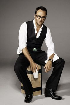 Tom Ford Mens style fashion icon in white dress shirt