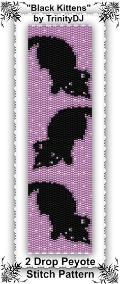 "New Pattern Listed: ""Black Kittens"" - 2 Drop Peyote Stitch Bracelet Pattern… Loom Bracelet Patterns, Peyote Stitch Patterns, Loom Patterns, Beading Patterns, Beaded Banners, Peyote Beading, Beaded Animals, Bead Crochet, Beading Tutorials"