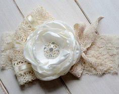 Flower Girl Headband, Ivory Lace Headband, Vintage-Inspired Headband