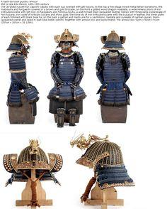 Tachi-do tosei gusoku armour, mid to late Edo Period, 18th-19th centuy, 30-plate russet-iron zaboshi kabuto. menpo with three-lame yodarekake of hon kozane, iron sode of kiritsuke kozane and shino gote, the nimai do of iron kiritsuke kozane with the kusazuri in leather, the lower plate of each trimmed with black bear fur, on the back a gattari and machi uke for a sashimono, haidate and suneate of nanban gusari, black-lacquered overall and laced in dark blue kebiki odoshi.