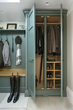 Lewis Alderson & Co, Boot Room This tailored boot room oozes country glamour. Painted in Green Smoke with oak interiors and bench seat, the design provides ample space for coats, shoes and accessories. Mudroom Cabinets, Mudroom Laundry Room, Laundry Room Design, Bench Mudroom, Mudroom Storage Ideas, Wall Storage, Boot Room Storage, Entryway Storage Cabinet, Utility Room Storage