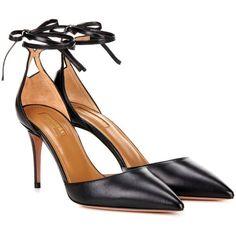Aquazzura Heartbreaker 85 Leather Pumps ($475) ❤ liked on Polyvore featuring shoes, pumps, heels, black, black leather pumps, black shoes, aquazzura, genuine leather shoes and black pumps