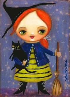 HALLOWEEN redhead witch black cat PRINT from painting by by tascha
