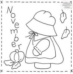 Paper Embroidery Patterns Sunbonnet Sue BOM - November Stitchery Pattern - Month by month stitchery pattern. Make a little calendar quilt, embellish a pillowcase, decorate a shirt or sew a fabric greeting card. Embroidery Designs, Folk Embroidery, Paper Embroidery, Embroidery Transfers, Hand Embroidery Patterns, Applique Patterns, Vintage Embroidery, Quilt Patterns Free, Machine Embroidery