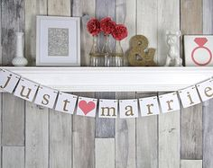 Items similar to Personalized Heart Garland ~ Custom Shabby Chic Wedding Decor ~ Your Names and Wedding Date! Unique Photo Prop ~ Head Table Decor on Etsy