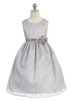 Flower Girl Dress with Floral Lace Overlay – FirstCommunions.com