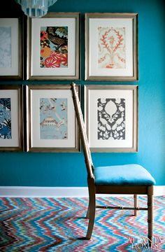 Framed wallpaper samples - great idea!  Atlanta Homes and Lifestyles magazine designer Brian Patrick Flynn