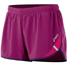 ASICS Split Running Shorts - Women's ($32) ❤ liked on Polyvore featuring activewear, activewear shorts, wild aster, asics sportswear and asics