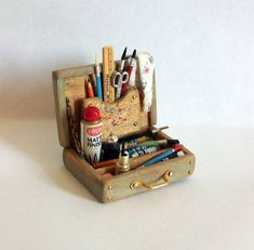 Miniature Artist Paint Box (1 inch dollhouse scale). $45.00, via Etsy.  I want one for my dolls.  Adorable!!!