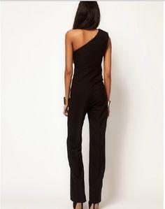 7ebb9ec62dde Black One Shoulder Sexy Jumpsuit   Rompers And Jumpsuits For  Women-Strapless Jumpsuit