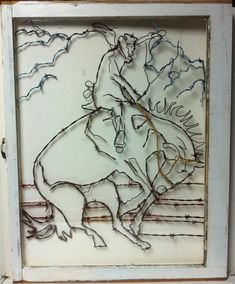 Trendy Ideas For Wire Garden Art Diy Wall Hangings Cowboy Crafts, Barbed Wire Art, Horseshoe Crafts, Antique Windows, Old Barn Wood, Window Art, Recycled Art, Repurposed, Wire Crafts