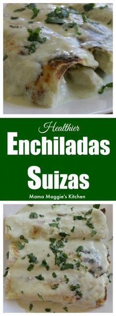 Enchiladas Suizas or Swiss-Style Enchiladas are corn tortillas stuffed with chicken Topped with a creamy sauce and cheese A delicious Mexican recipe that s hard not to love by Mama Maggie s Kitchen via maggieunz Swiss Recipes, Clean Recipes, Cooking Recipes, Mexican Chicken Recipes, Mexican Dishes, Enchiladas Healthy, Swiss Style, Corn Tortillas, Creamy Sauce