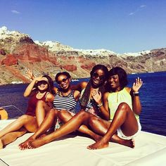 Girls' trip. @saymama // Santorini Greece. #travelnoire #santorini